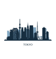 tokyo skyline monochrome silhouette vector image