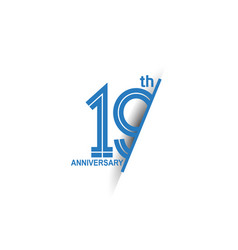 19 anniversary blue cut style isolated on white vector