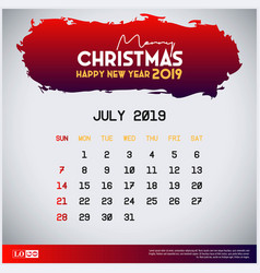 2019 july calendar template merry christmas and vector image