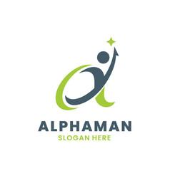 Alpha logo with human creative growth logo vector