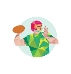 American Football QB Throwing Ball Low Polygon vector image