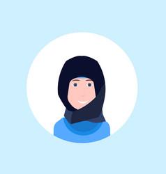 Arab businesswoman face happy woman portrait vector