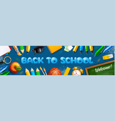 back to school horizontal banner with school vector image