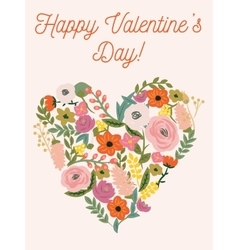 Beautiful retro floral card for valentines day vector