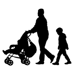 Black silhouettes Family with pram on white vector