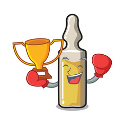 Boxing winner ampoule mascot cartoon style vector