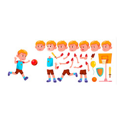 boy kindergarten kid animation creation vector image