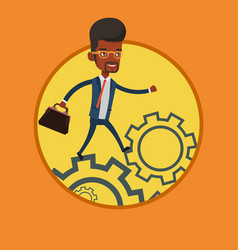 business man running on cogwheels vector image