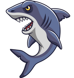 cartoon angry shark mascot vector image