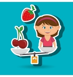 Cartoon girl food fruit balance vector