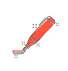 cartoon highlighter marker pen icon in comic vector image