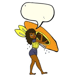cartoon woman carrying canoe with speech bubble vector image