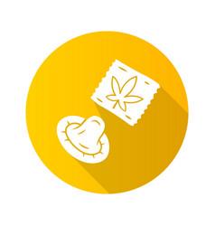cbd condom flat design long shadow glyph icon vector image