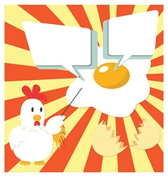 Chicken Cartoon Presenting With Fried Egg vector image