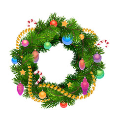 christmas holiday wreath with balls and decoration vector image