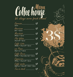 Coffee menu with price list and cup of hot coffee vector