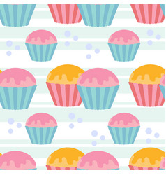 color seamless pattern of delicious cupcakes on a vector image
