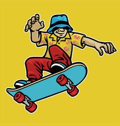Cool guy enjoying skateboard vector