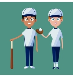 Couple player baseball cap glove bat and ball vector