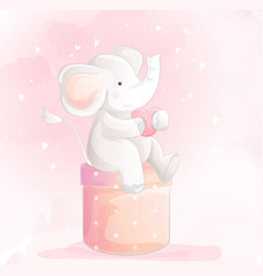 Cute baelephant watercolor style vector