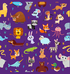 Cute cartoon animals alphabet pattern isolated vector