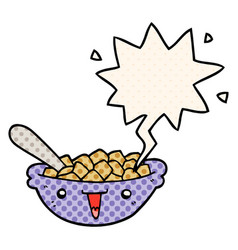 Cute cartoon bowl cereal and speech bubble in vector