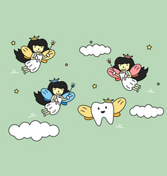 Cute colorful tooth fairy flying with teeth vector