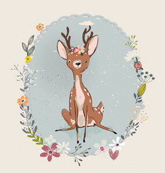 cute summer deer vector image