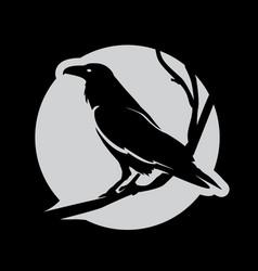 Dark evil heraldic raven vector