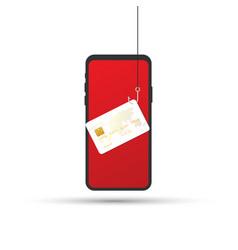 Data phishing credit or debit card on fishing vector