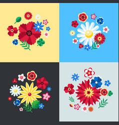 digital blue flowers set vector image