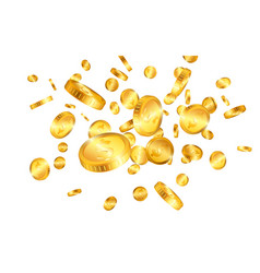 Dollar gold coins explosion isolated on white vector