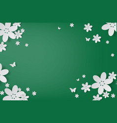 Elegant white flowers and butterfly handcraft vector