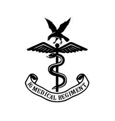 emblem 16 medical regiment black and white vector image