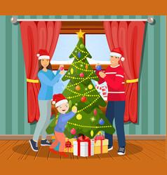 Family christmas evening scene vector