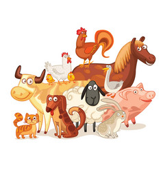 Farm animals posing together vector