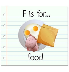 Flashcard letter F is for food vector
