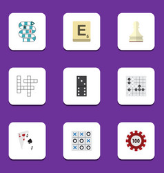 Flat icon entertainment set of bones game mahjong vector