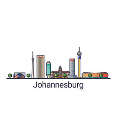 flat line johannesburg banner vector image