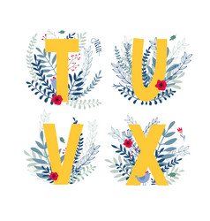 Floral alphabet letter t u v x set vector