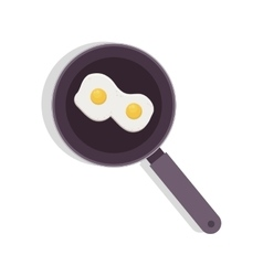 Food frying pan with two eggs vector