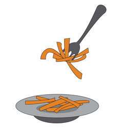 French fries on a plate and on a fork on white vector