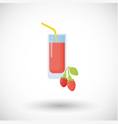 Goji berries juice flat icon vector
