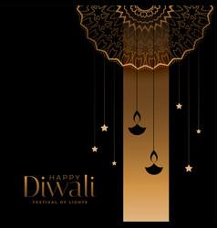 Golden and black happy diwali festival card design vector