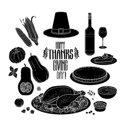Graphic Thanksgiving day collection vector