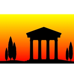 Greek temple at sunset vector image
