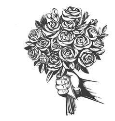 hand gives a bouquet roses greeting card hand vector image