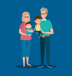 Happy grandparents together with cute grandsons vector