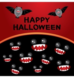 Happy Halloween card Bats monsters Black and red vector image