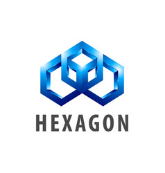 hexagon three dimensional style logo concept vector image